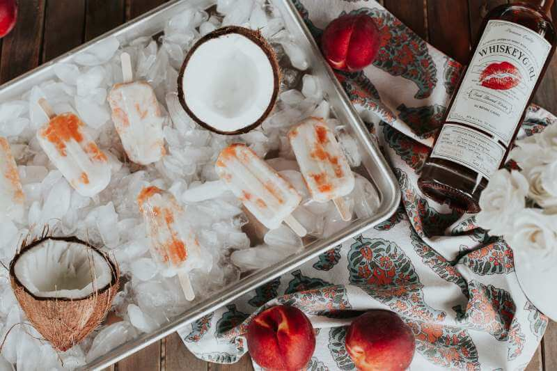 Boozy Peaches and Cream Popsicles with Whiskey Girl
